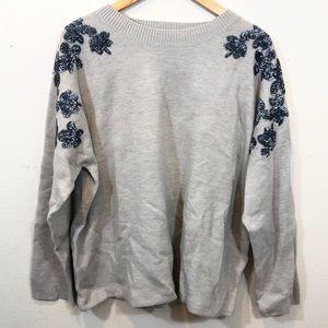J Crew Blue Gray Sweater Blue Sequin Flowers Crew